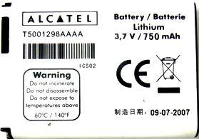 Alcatel OT E221 (T5001298AAAA) 750mAh Li-ion, оригинал