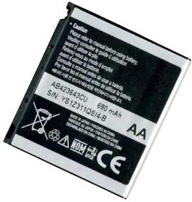 Samsung U600 (AB423643CU) 690mAh Li-ion 2.55Wh, оригинал