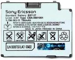 Sony Ericsson Z600i (BST-27) 780mAh Li-ion 3.6V, оригинал